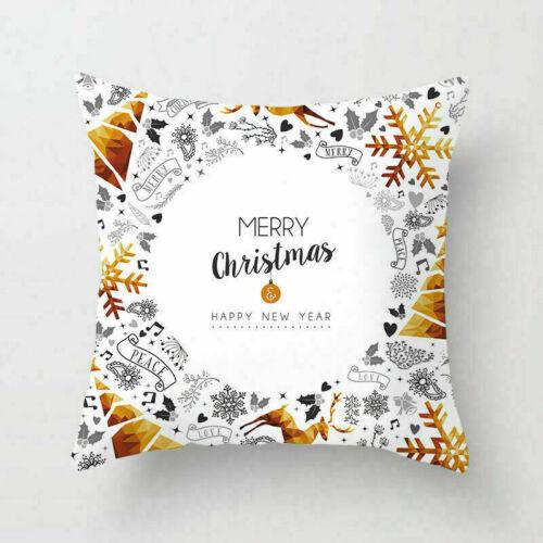 Merry Christmas Gift Pillow Case Polyester Home Decor Sofa Throw Cushion Cover