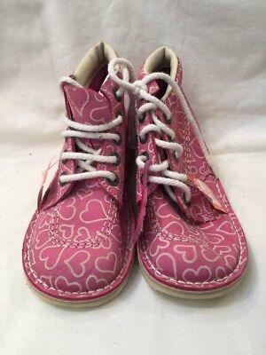 Kickers Pink \u0026 White Hearts Childrens
