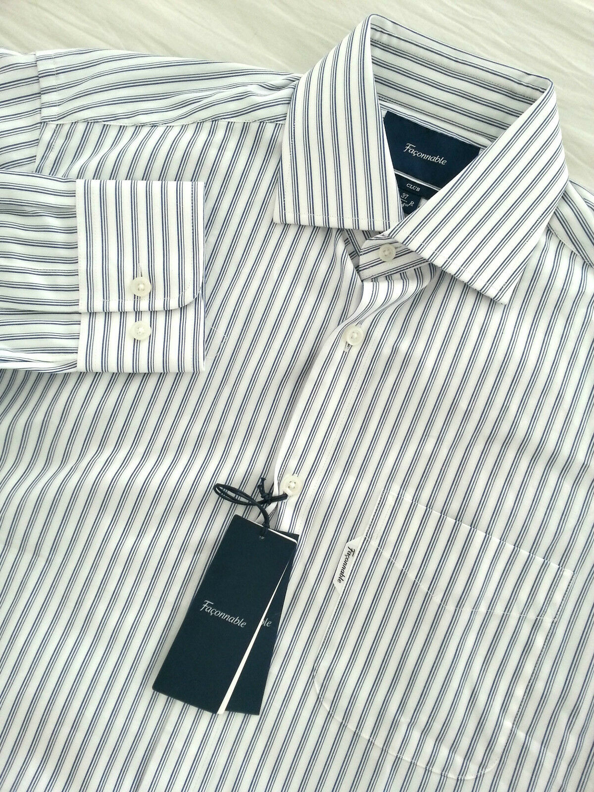 NWT FACONNABLE Men's Long Sleeve White bluee Striped Dress Shirt Size 14 1 2 CLUB
