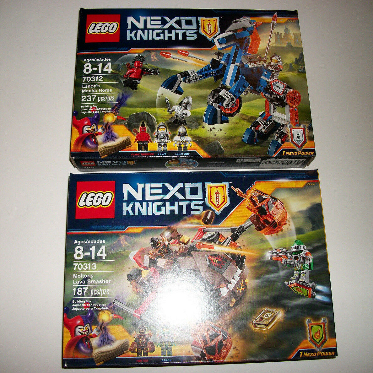 Lego Sealed Set Lot Nexo Knights Knights Knights 2 Sets 70313 70312 Mecha Horse Lava Smasher a82864