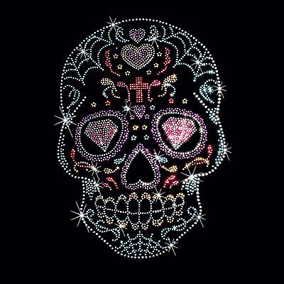 Rhinestone Stud Candy Skull Womens V Neck T Shirt Floral Ladies Small to 3XL