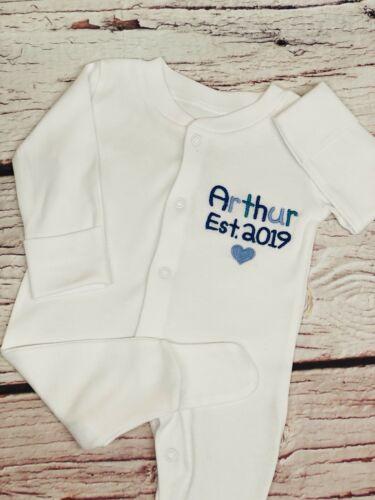 Personalised Baby Sleepsuit Grow New Birth Gift Any Name Embroidered Boy Girl