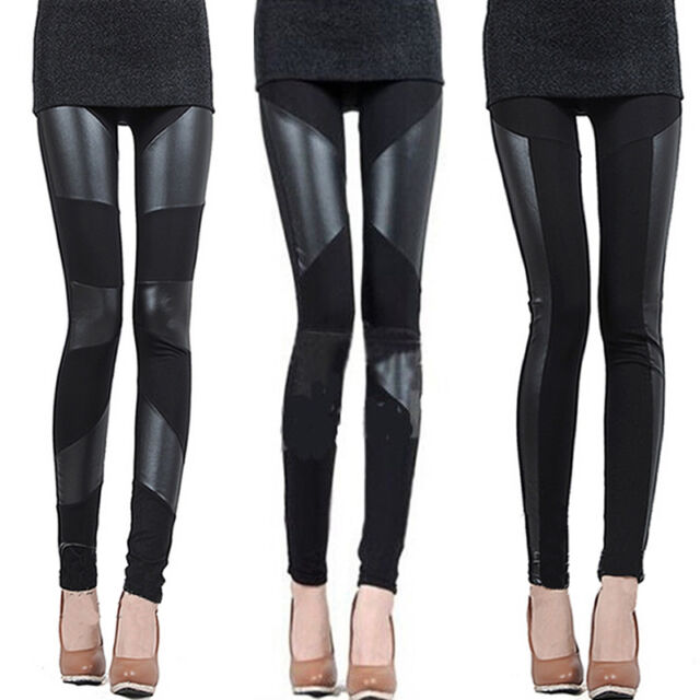 Women Sexy Fashion Stitching Stretchy Faux Leather Black Leggings Pants