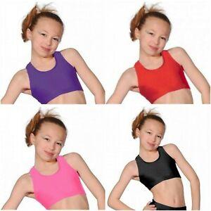 Girls-Crop-Top-Shiny-Nylon-Lycra-Short-Crop-Top-Kids-Gymnastics-Dance-Wear