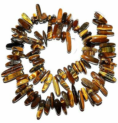 NG1561 Golden Tiger's Eye 12mm - 22mm Briolette Hawaiian Chip Gemstone Bead 16""