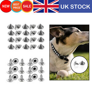 Silver-Spike-Cone-Studs-Metal-Punk-Goth-Rivets-10mm-100pcs-for-DIY-Leathercrafts