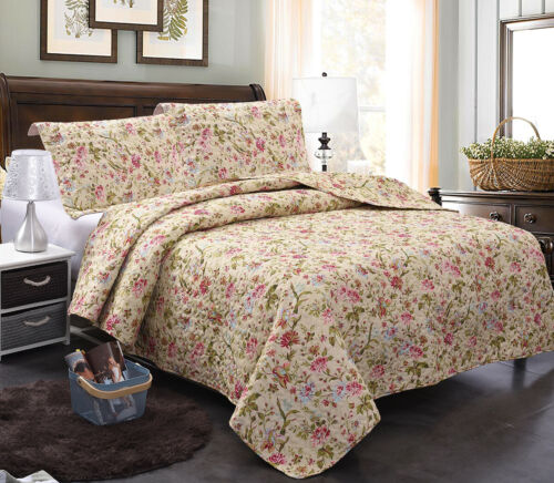 Pink Bedspread Coverlet Set Allover, What Is The Length And Width Of A King Size Bedspread