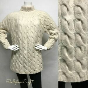 DKNY-100-Wool-CHUNKY-Thick-FISHERMAN-Cable-Knit-Turtleneck-OVERSIZED-Sweater-S