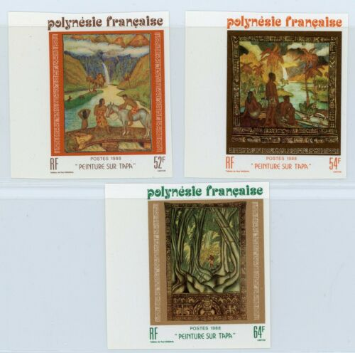 French Polynesia 1988 Paintings Imperforate Set Marginal MNH X672