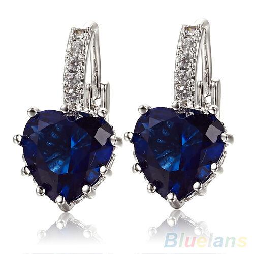 Women's 18K White Gold Plated Sapphire Blue Crystal Heart Leverback Earrings