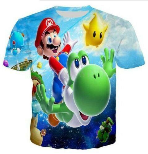 Women//men Cartoon Super Mario 3D print Short Sleeve Casual Top T-Shirt S-5XL GF1