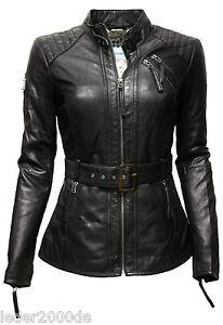 sale retailer 41936 9d420 Details zu Damen Lederjacke echt Leder Lammnappa knautschig weich Schwarz  gesteppt Gürtel