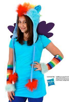 My Little Pony Rainbow Dash Laplander Beanie Hoodie Hat and Glovettes NEW UNWORN