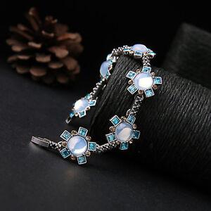 Pulsera-Plateado-Grabado-Floral-Azul-Mar-Cremoso-En-Fino-Retro-CT-5