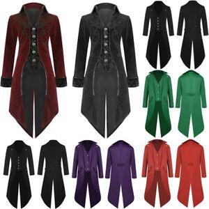 Vintage-Mens-Tailcoat-Jacket-Goth-Steampunk-Uniform-Costume-Praty-Outwear-Coat-A