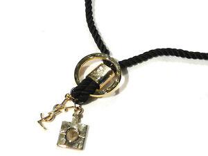 Bijou-alliage-dore-collier-parfum-Yves-St-Laurent-necklace