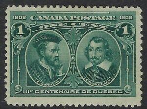 Scott-97-1c-Quebec-Tercentenary-Cartier-and-Champlain-F-VF-HR