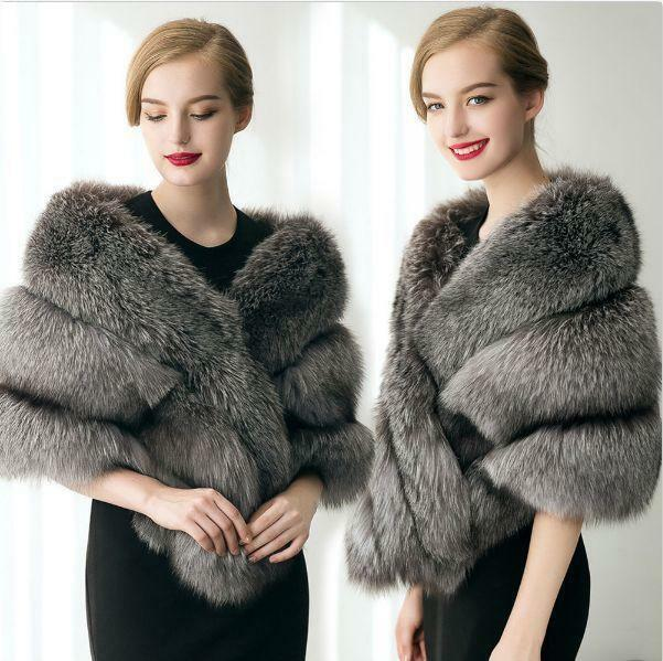 Luxury Women Faux Fur Shawl Cape Winter Warm Wrap Evening Coat Warm Wedding New