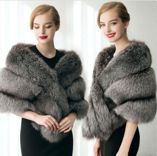 Winter Cape Fur Størrelse Wrap Kvinder Fashion Sjal Varm Luksus Aftencoat Faux TIqwX