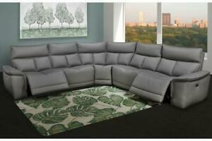 Reclining sectional with adjustable headrest    Genuine Leather Sectional   Power Recliner   Luxury Quality Recliners Toronto (GTA) Preview