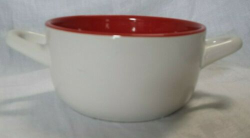 """Ceramic American Red Cross Soup Chili Bowl Dish Kitchen Double-Handle Round 7x3/"""""""
