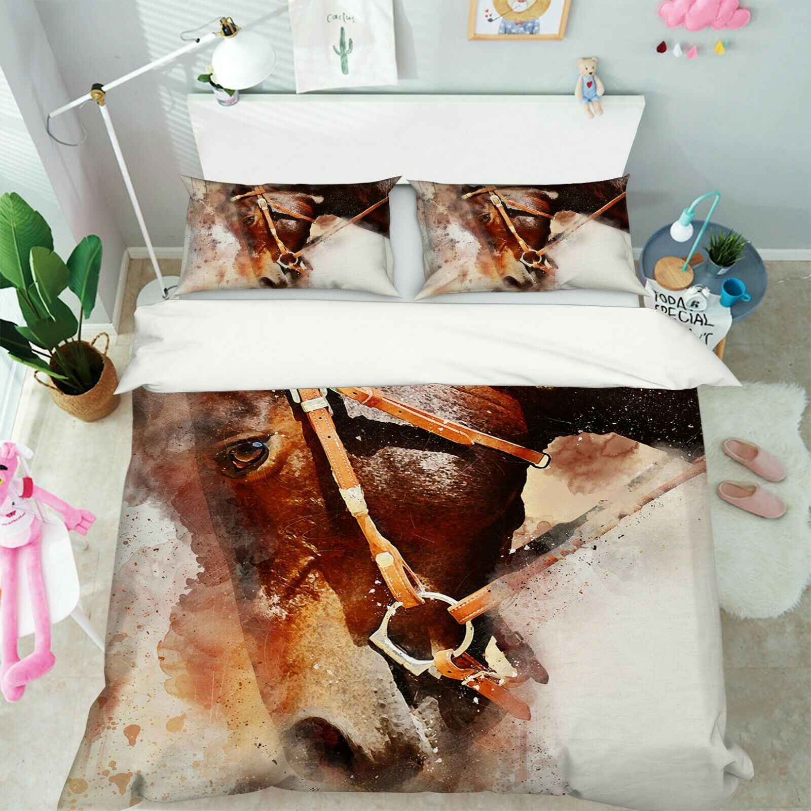3D Horses Grass I50 Animal Bed Pillowcases Quilt Duvet Cover Queen King Angelia