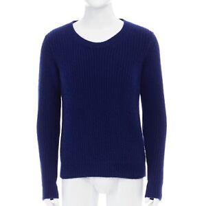 108a22ddf RAF SIMONS cobalt blue angora wool ribbed pullover sweater jumper ...