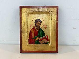 St. Matthew Hand Painted Byzantine Certified Greek Orthodox Icon on Wood