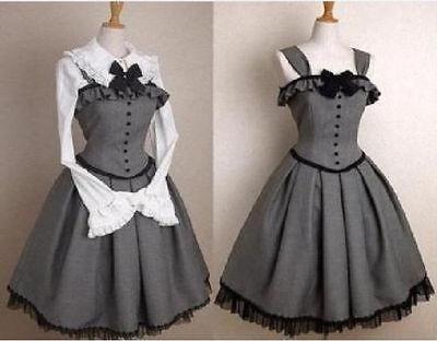New lolita gothic corset jumper grey dress victorian party long sleever dresses