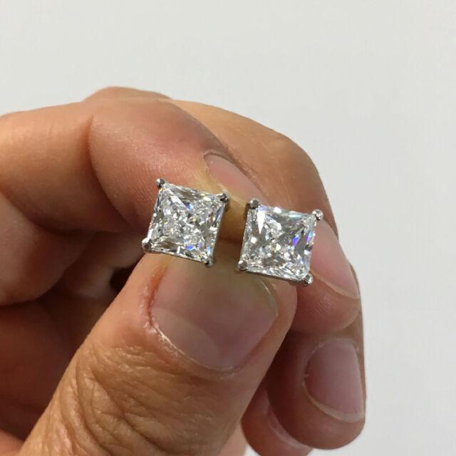 Princess White Diamond Stud Earrings Brilliant Cut Man Made 14k Solid Gold