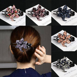 Comb-Slide-Accessories-Grips-Women-039-s-Hairpin-Clips-Flower-Crystal-Hair-Pins