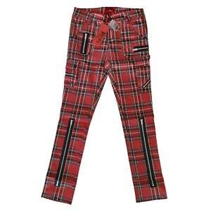 Tripp-NYC-80s-Punk-Red-Tartan-Plaid-Exploited-Skinny-Jeans-Pants-Size-30-11