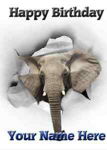 Image Is Loading Elephant Birthday Card PID070 Happy A5 Personalised