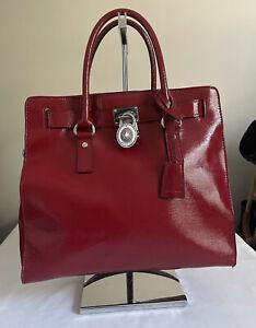 MIchael Kors Hamilton Red Saffiano Leather Chain Snap Shoulder Bag Tote Satchel