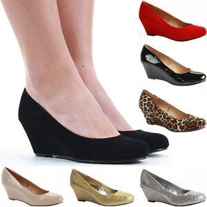 Ladies-Wedge-Shoes-Smart-Pumps-Wedges-High-Heel-Classic-Court-Platform-Size