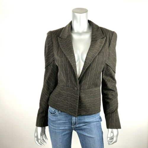 Zac Posen Blazer Jacket Womens 4 Wool Blend Brown