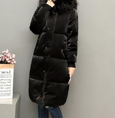 Womens Shining Faux Fur Collar Hoodie Coats Thicken Long Jackets Fashion Ske15