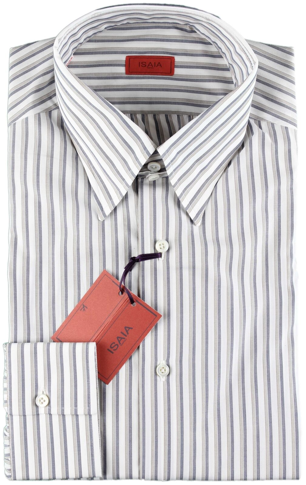 NWT ISAIA SHIRT white, bluee & grey striped luxury handmade  40 15 3 4