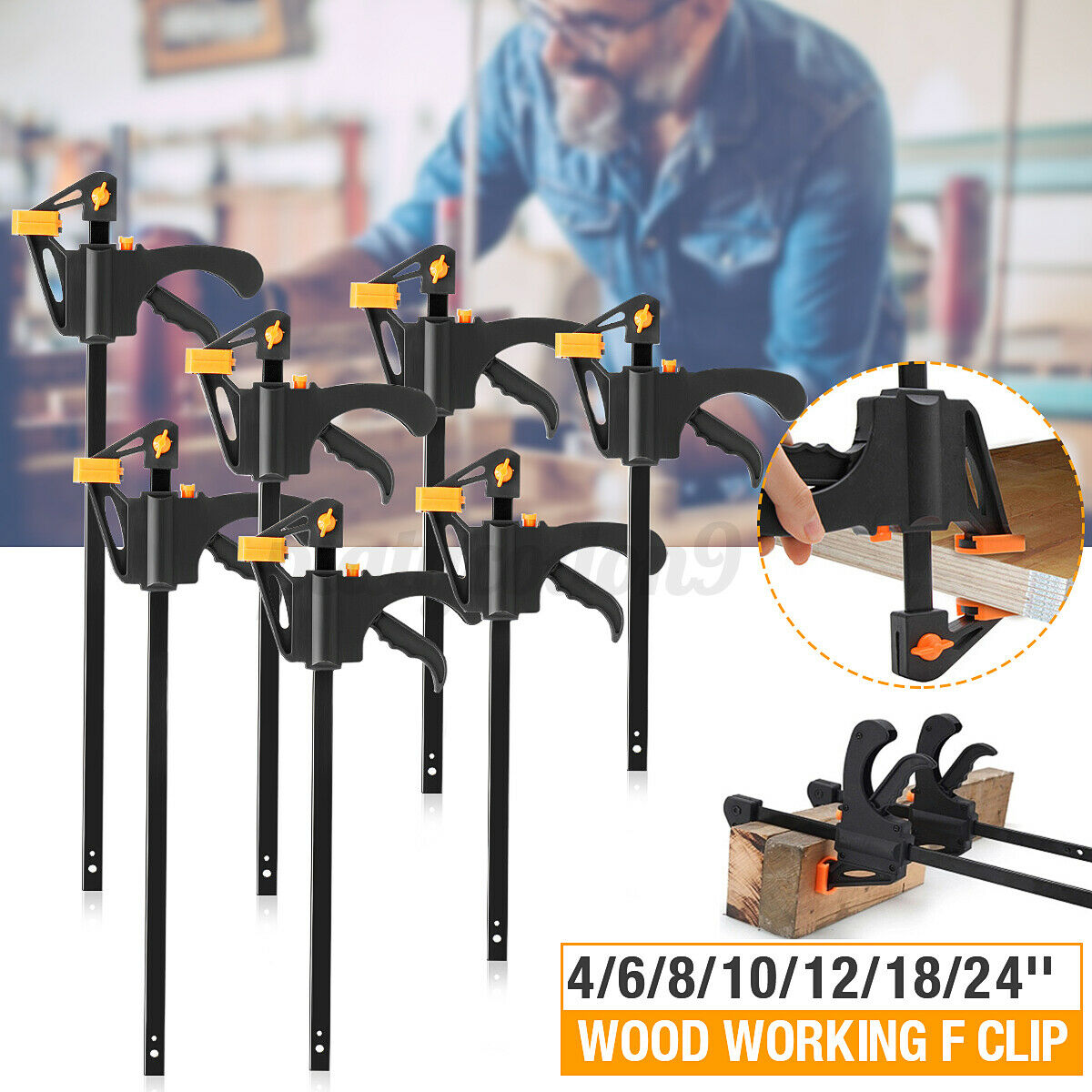 Adjustable 4 F Woodworking Clip Quick Grip Clamps Wood Carpenter Vice For Sale Online