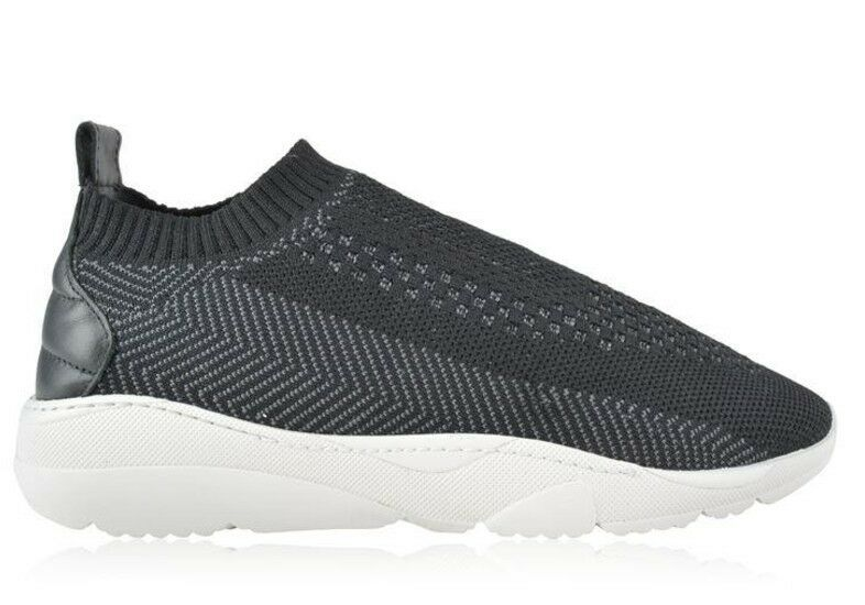 70a2464120e New Mens Filling Pieces Runner Sac Knit Trainers - Black Grey Textile