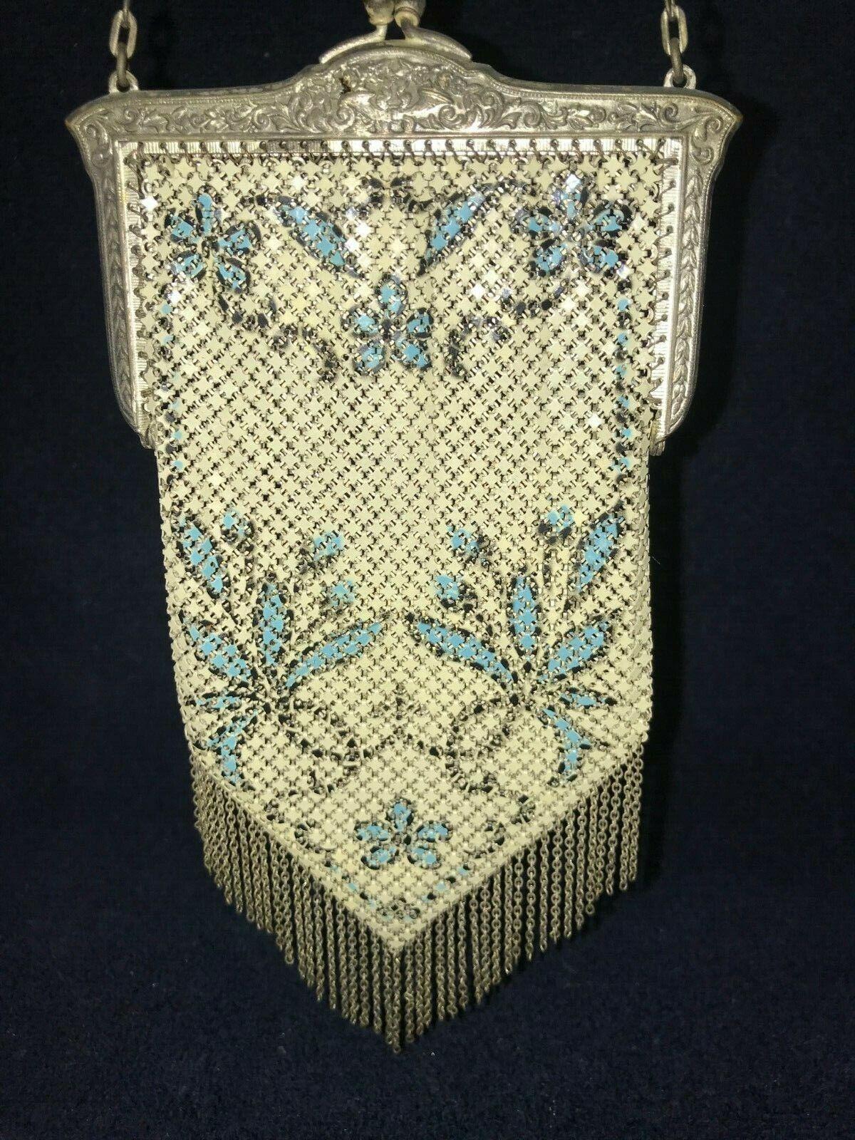 Vintage Mandalian Mfg Co Enamel? Metal Mesh Purse… - image 1