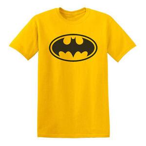 New-Yellow-classic-Batman-logo-tee-t-shirt-DC-Comics-mens-adult-sizes-small-3X