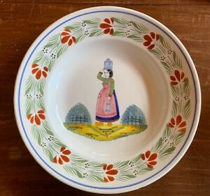 RARE-Henriot-Quimper-France-Milk-Maid-Lady-Hand-Painted-Plate-Bowl-9-1-4