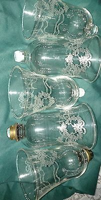 HOME INTERIORS / HOMCO VOTIVE CUPS - 5 ETCHED HEARTS & RIBBONS