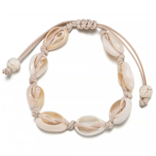 Bohemian Natural Cowrie Beaded Shell Anklet Bracelet Handmade Beach Foot Jewelry