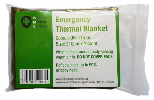 OD Camouflage Style Emergency Foil Thermal Blanket 210 cm x 130 cm
