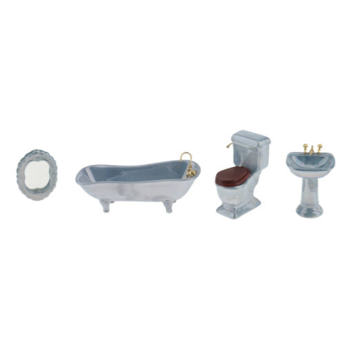 4pcs 1//12 Porcelain Bathroom Set Blue Bathtub Toliet Basin for Dollhouse
