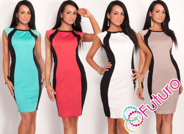 Stylish Women's Pencil Dress Crew Neck  Sleeveless Tunic Sizes 8 - 18 FK1220