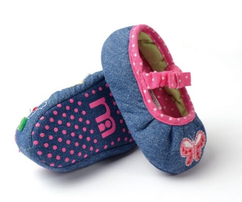 BNWT Mothercare Baby Girls Pleated Denim Butterfly Shoes 3-12m Size 2//3//4