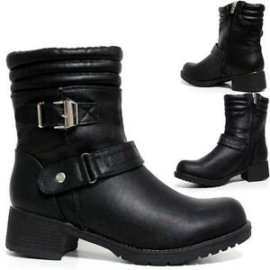 Ladies-Womens-Mid-Block-Heel-Zip-Up-Military-Combat-Ankle-Biker-Boots-Shoes-Size